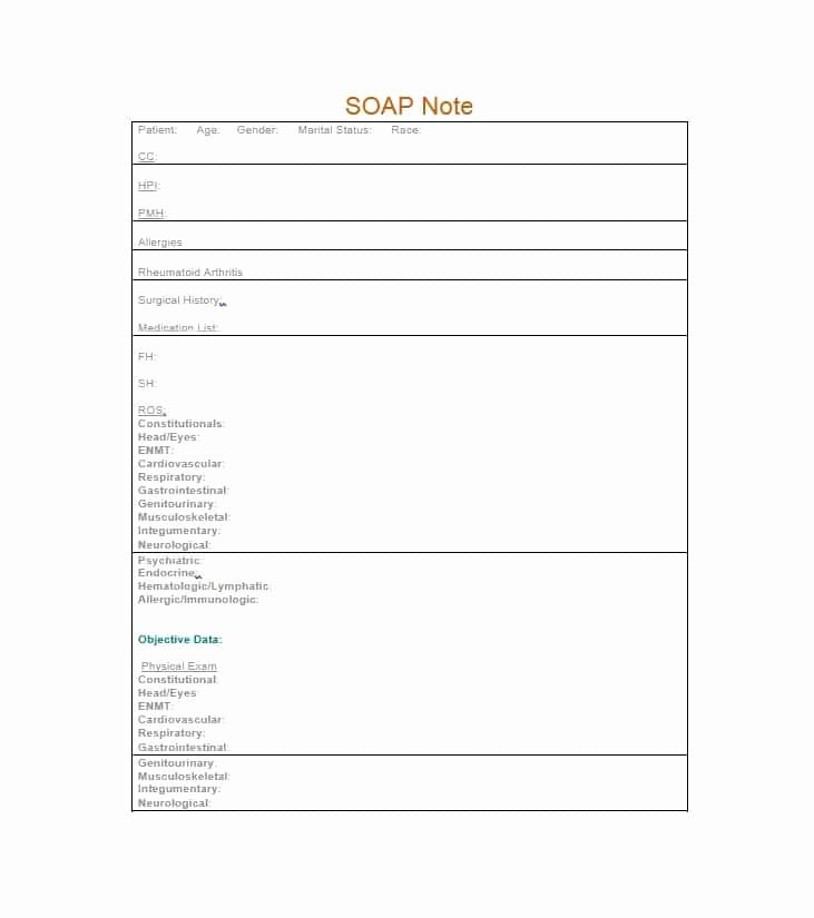 Soap Note Template Pdf Luxury 40 Fantastic soap Note Examples & Templates Template Lab