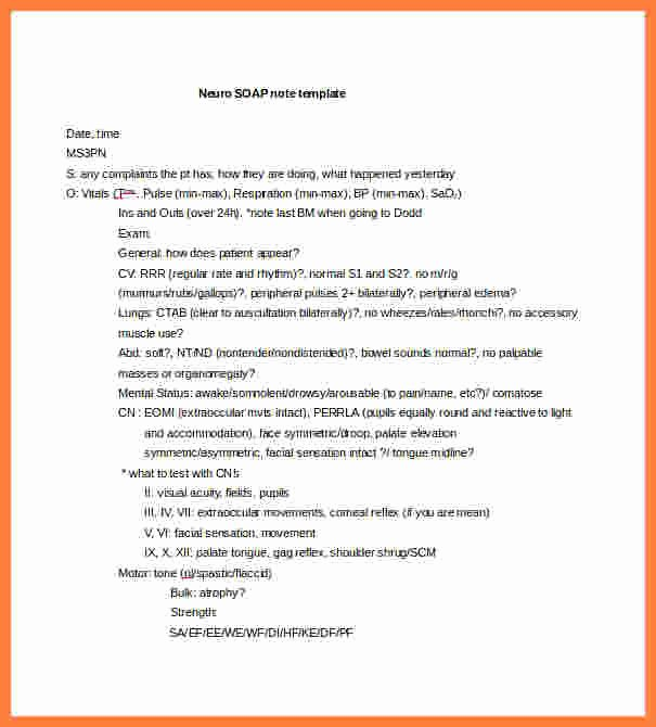 Soap Note Template Word Fresh 9 soap Notes Template