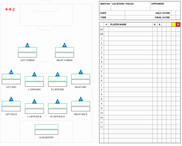 Soccer Team Roster Template Luxury soccer formations and Systems as Lineup Sheet Templates