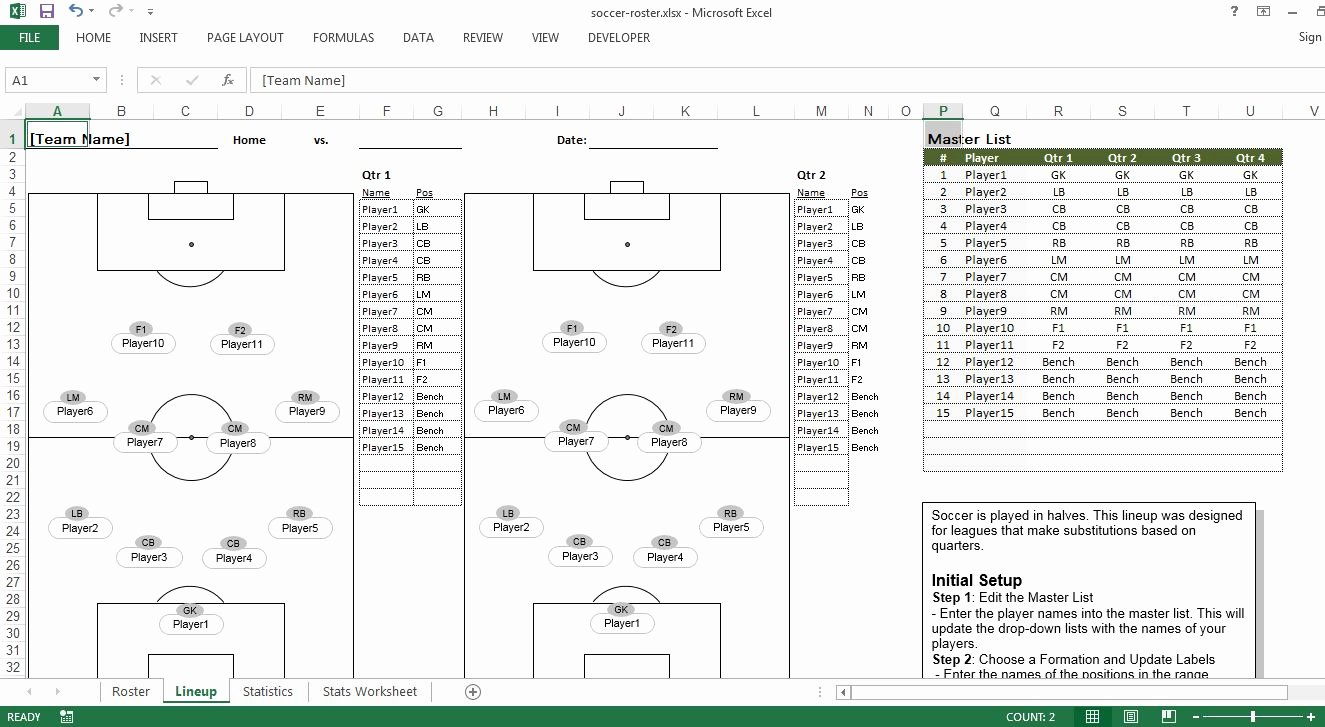Soccer Team Roster Template Luxury soccer Roster Free Excel Template