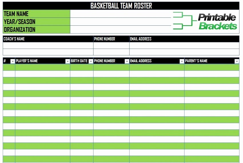 Soccer Team Roster Template New Basketball Roster Template
