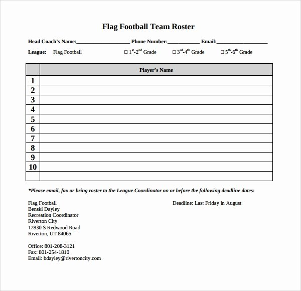 Soccer Team Roster Template New Sample Football Roster Template 9 Free Documents