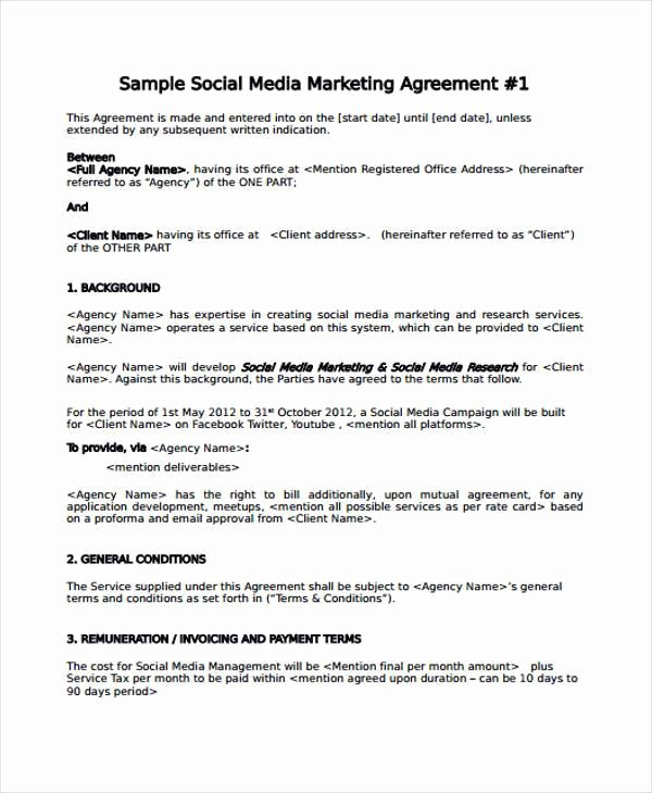 Social Media Release form Template Fresh 7 Marketing Agreement form Samples Free Sample Example