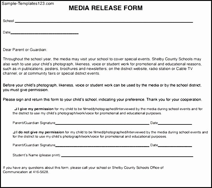 Social Media Release form Template Lovely social Media Release form