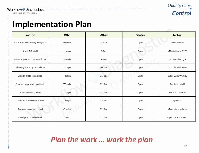 Software Implementation Plan Template Elegant Quality Clinic Lean Six Sigma Fundamentals Training Sample