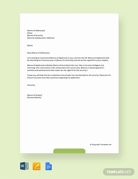 Sorority Recommendation Letter Template Awesome 94 Free Re Mendation Letter Templates Pdf