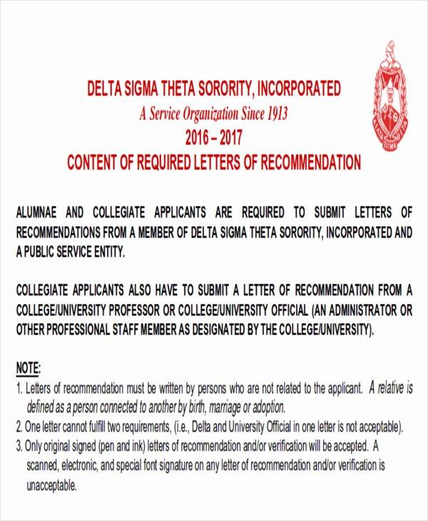 Sorority Recommendation Letter Template Fresh Sample sorority Re Mendation Letter 6 Examples In