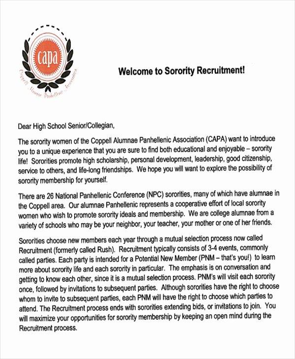 Sorority Recommendation Letter Template Lovely 7 Sample sorority Re Mendation Letters Pdf Doc