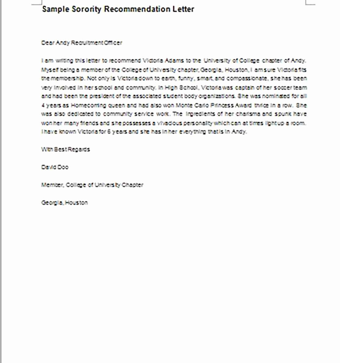 Sorority Recommendation Letter Template Lovely Re Mendation Letter Example and How to Make It Ting