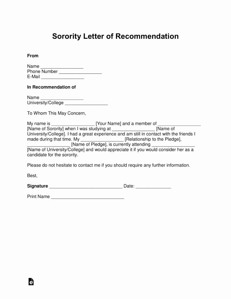 Sorority Recommendation Letter Template Lovely sorority Letter Re Mendation Examples