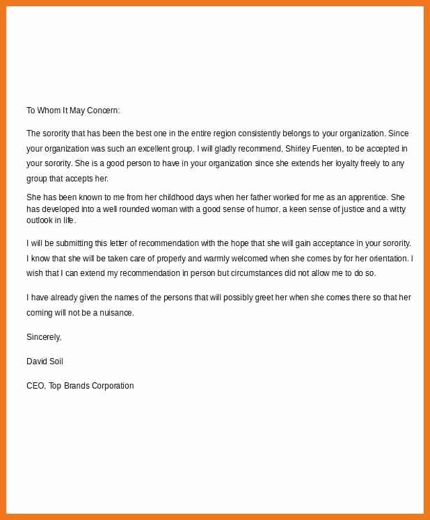 Sorority Recommendation Letter Template Luxury 7 8 sorority Re Mendation Letter