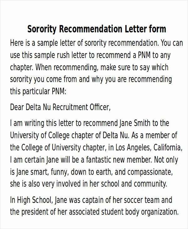 Sorority Recommendation Letter Template New Sample sorority Re Mendation Letter 6 Examples In