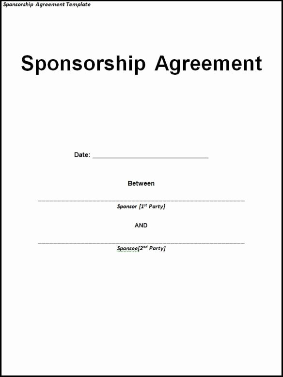 Sponsorship form Template Word Beautiful 10 Sponsorship Agreement Templates