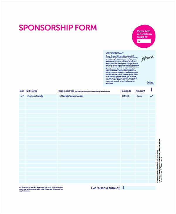 Sponsorship form Template Word Beautiful Sample Sponsorship form 9 Documents In Word Pdf