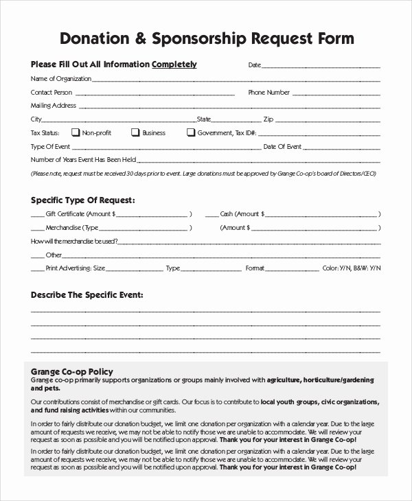 Sponsorship form Template Word Elegant 10 Sample Donation Request forms Pdf Word