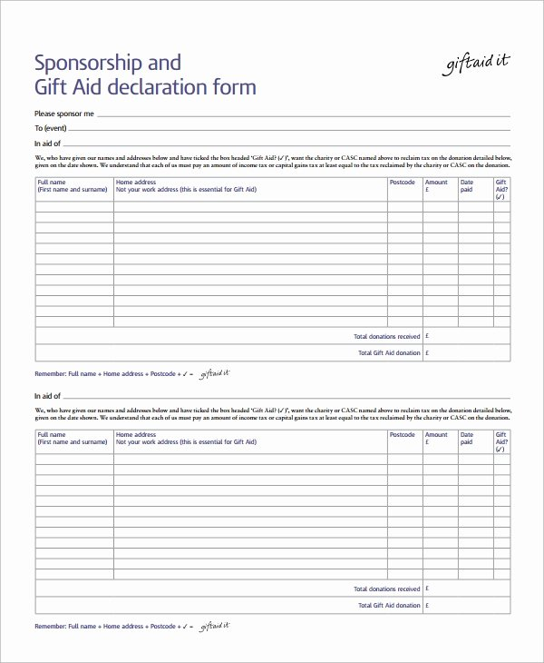Sponsorship form Template Word Elegant Sample Sponsorship form 9 Documents In Word Pdf
