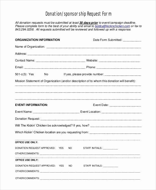 Sponsorship form Template Word Lovely 10 Sample Donation Request forms Pdf Word