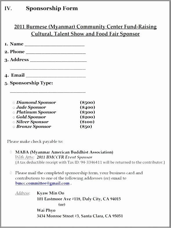 Sponsorship form Template Word Lovely 5 Blank Sponsorship form Template Retoi
