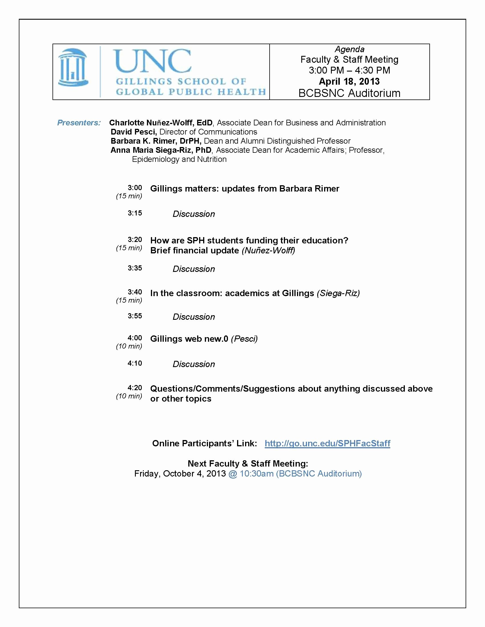 Staff Meetings Agenda Template Awesome Faculty Staff Meetings Archives • Unc Gillings School Of