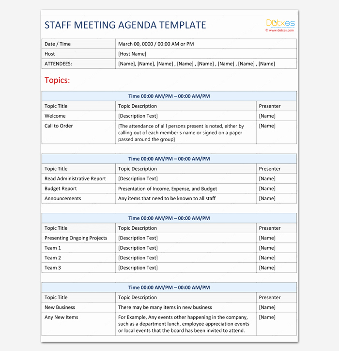Staff Meetings Agenda Template Awesome Meeting Outline Template 13 formats Examples and Samples