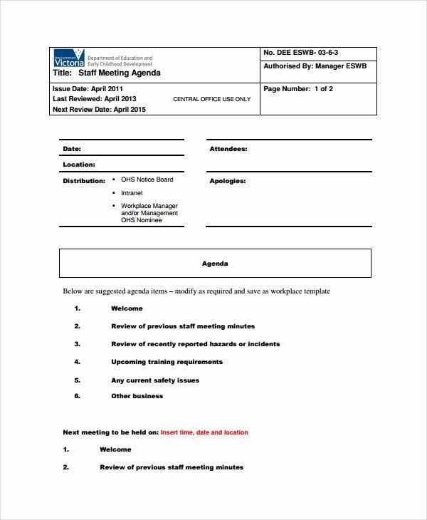 Staff Meetings Agenda Template Beautiful Sample Staff Meeting Agenda 6 Documents In Pdf
