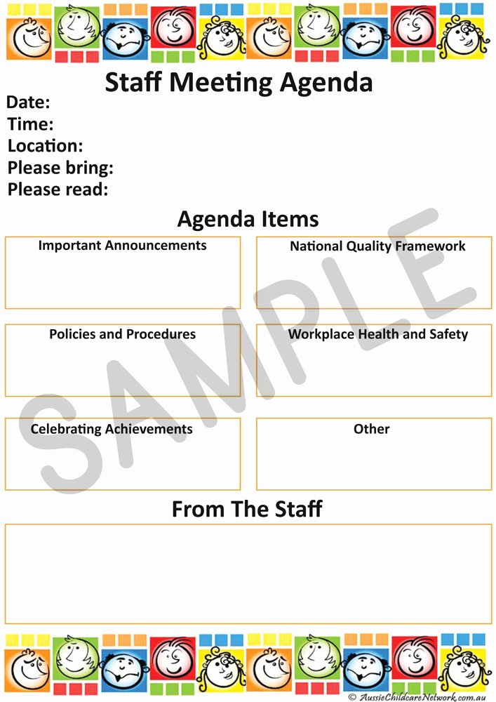 Staff Meetings Agenda Template Beautiful Staff Meeting Aussie Childcare Network