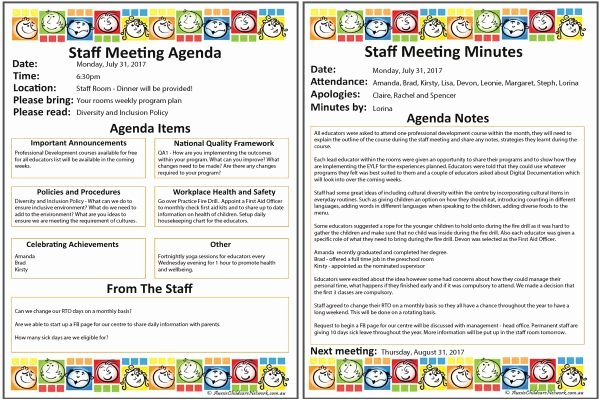 Staff Meetings Agenda Template Best Of Staff Meeting Templates Aussie Childcare Network