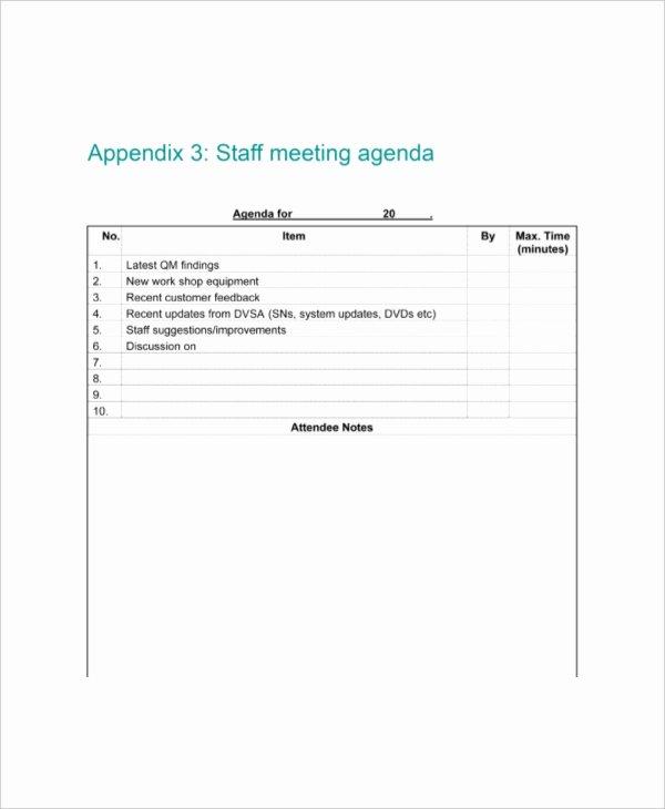 Staff Meetings Agenda Template Fresh 9 Staff Meeting Agenda Templates – Free Sample Example