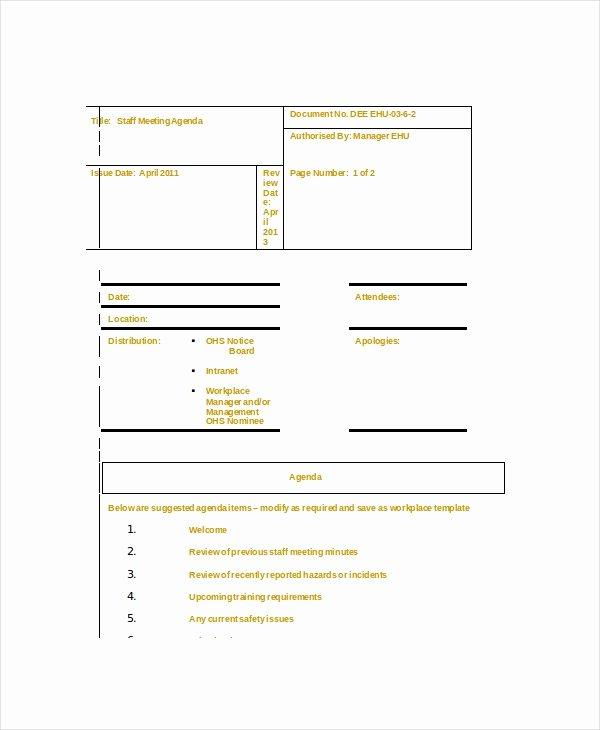 Staff Meetings Agenda Template Fresh Staff Meeting Agenda Template – 10 Free Word Pdf