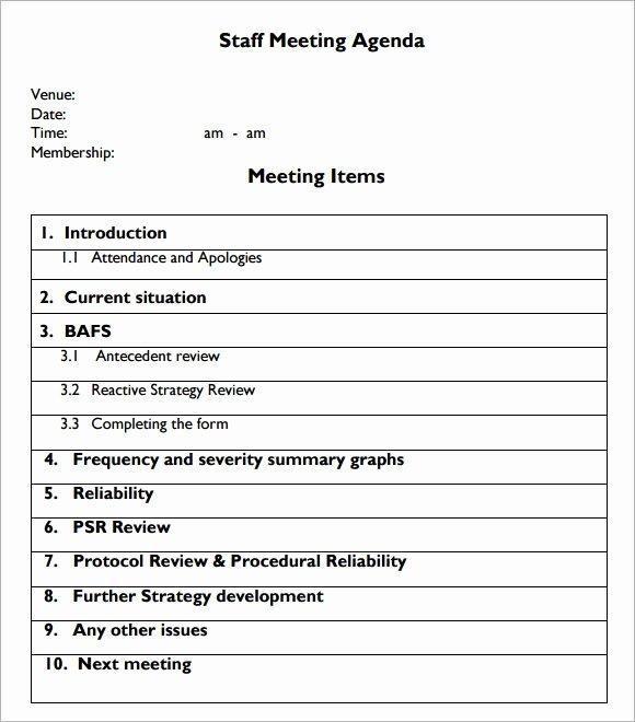 Staff Meetings Agenda Template Luxury Free 5 Staff Meeting Agenda Samples In Example format