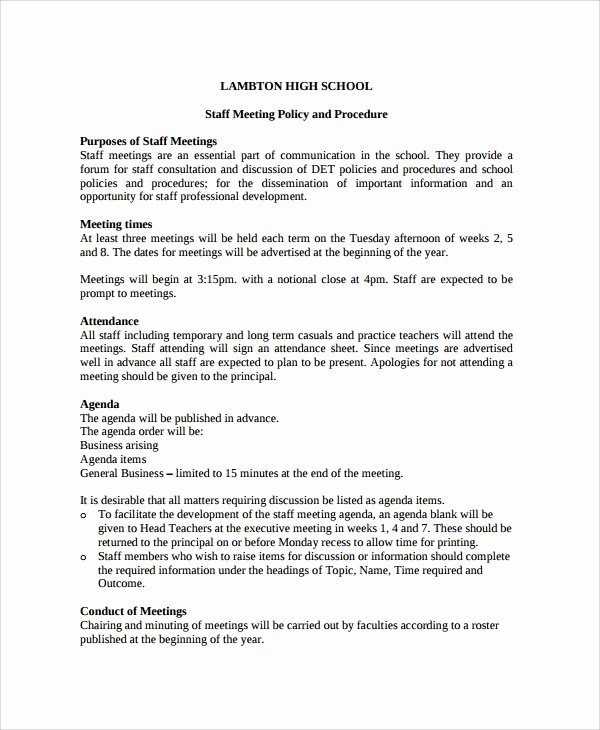 Staff Meetings Agenda Template Luxury Sample Staff Meeting Agenda 6 Documents In Pdf