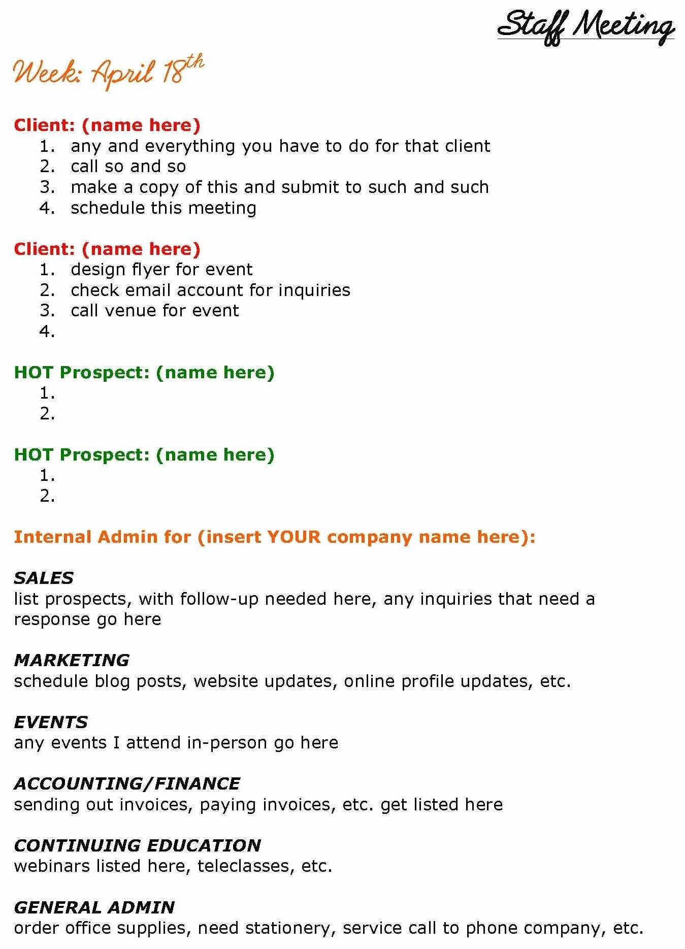 Staff Meetings Agenda Template New solopreneurs Need Staff Meetings too See This Staff