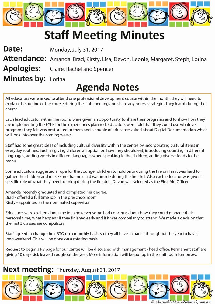 Staff Meetings Agenda Template New Staff Meeting Aussie Childcare Network