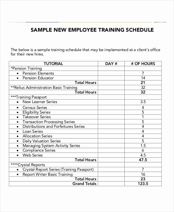 Staff Training Plan Template Best Of 15 Employee Training Schedule Template Word Pdf
