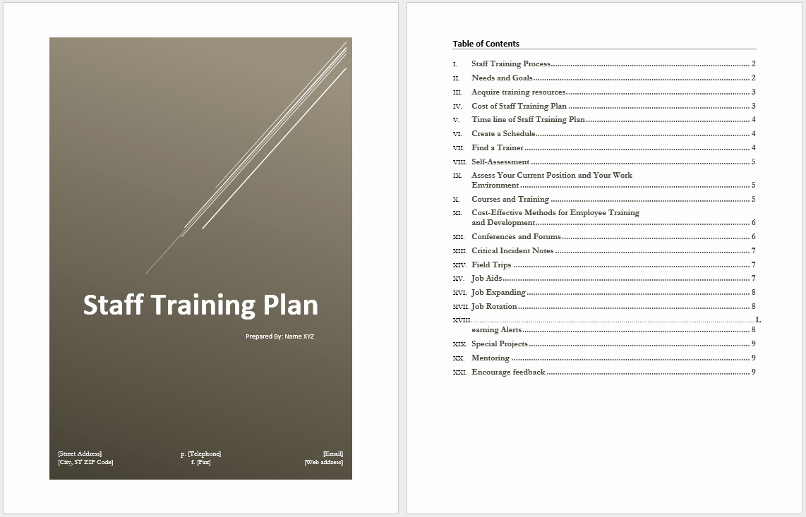 Staff Training Plan Template Unique Staff Training Plan Template – Word Templates for Free
