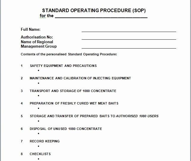 Standard Operating Procedure Template Free Awesome 37 Best Free Standard Operating Procedure sop Templates