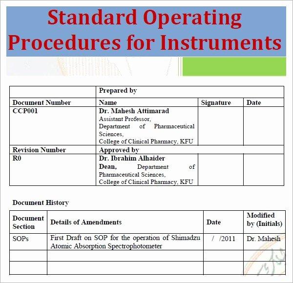 Standard Operating Procedure Template Free Beautiful Standard Operating Procedure Template Excel Pdf formats