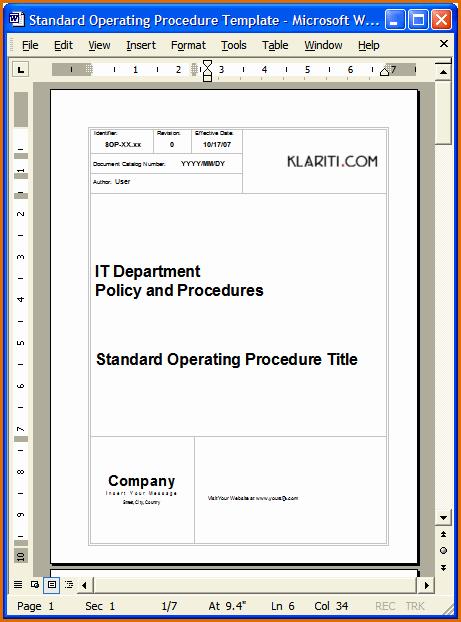 Standard Operating Procedure Template Word Lovely 13 Standard Operating Procedures Examples