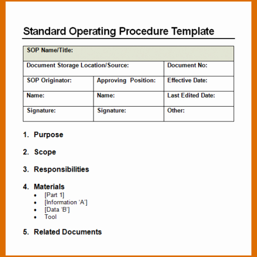 Standard Operating Procedure Template Word Lovely 14 Standard Operating Procedures Templates