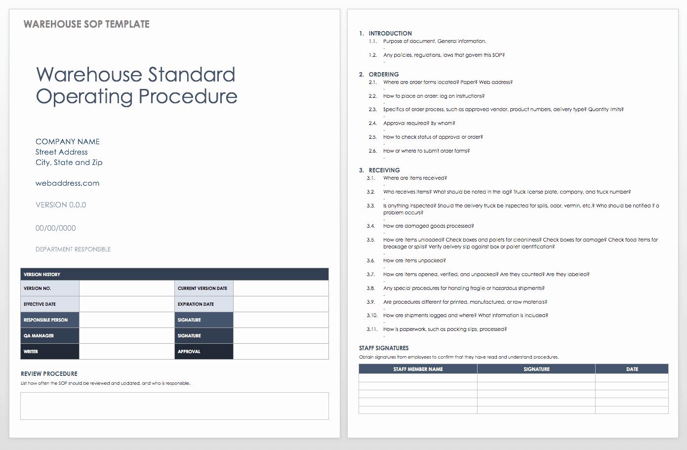 Standard Operating Procedure Template Word Lovely Standard Operating Procedures Templates