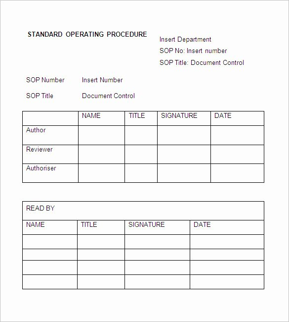 Standard Operating Procedures Template Word Beautiful sop Template Standard Operating Procedure Template