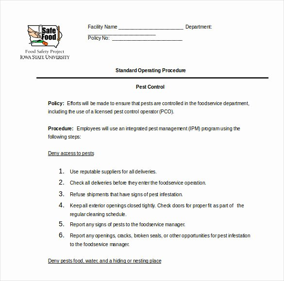 Standard Operating Procedures Template Word Fresh 13 Standard Operating Procedure Templates Pdf Doc