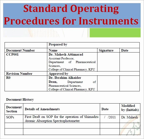 Standard Operating Procedures Template Word Inspirational Standard Operating Procedure Template Excel Pdf formats