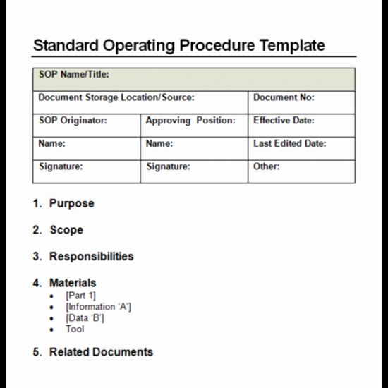 Standard Operating Procedures Template Word Lovely 4 Facts About Standard Operating Procedure