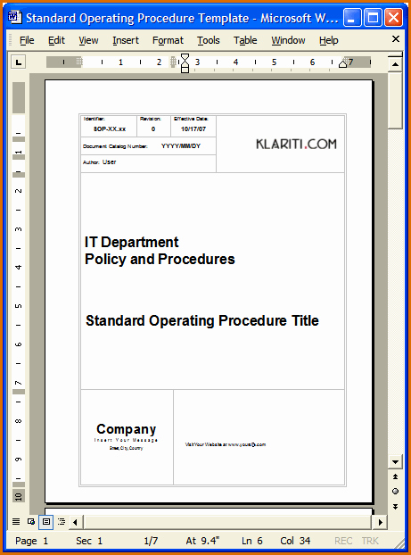 Standard Operating Procedures Template Word New 13 Standard Operating Procedures Examples