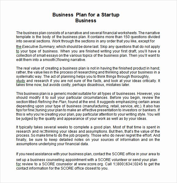 Startup Business Plan Template Unique 7 Printbale Business Plans