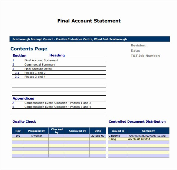 Statement Of Account Template Awesome Sample Statement Of Account 10 Documents In Pdf