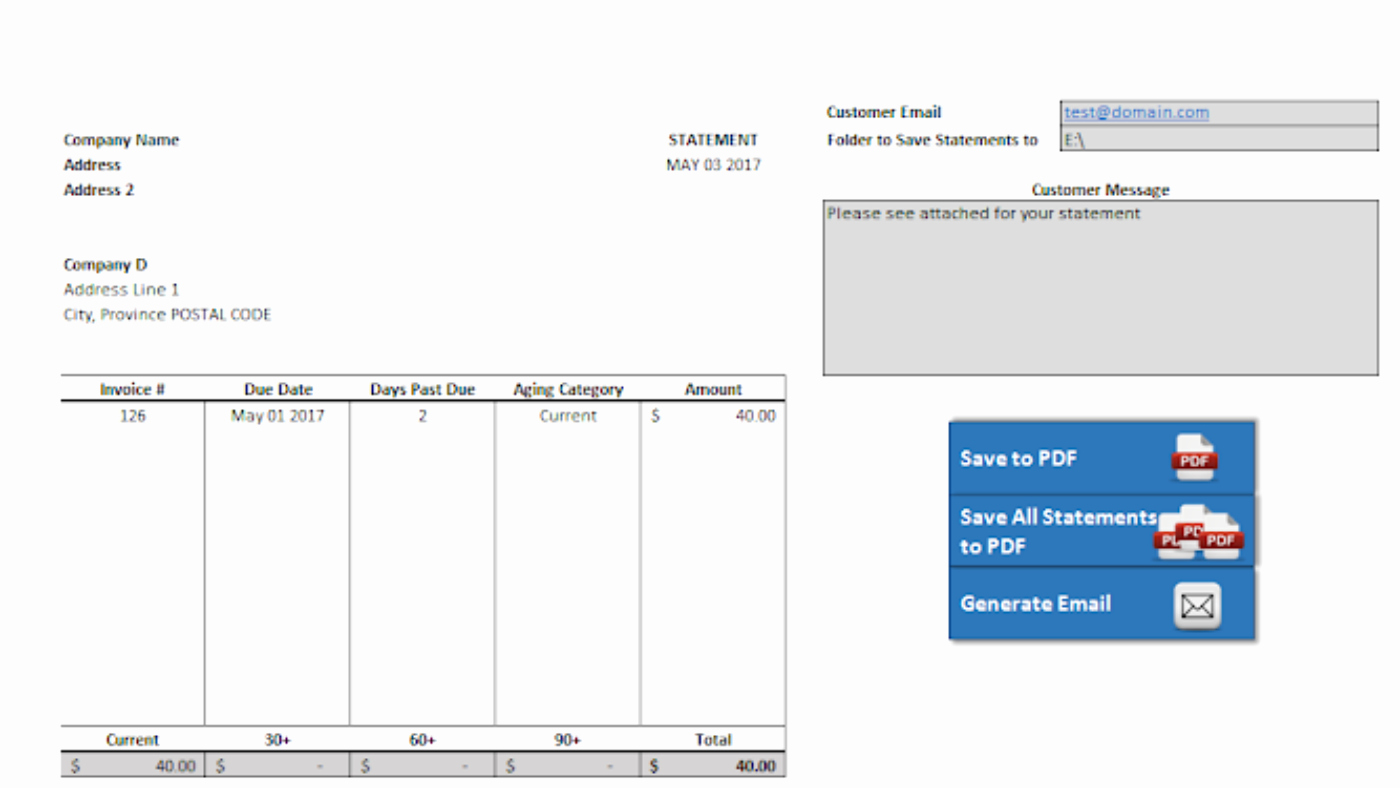 Statement Of Account Template Elegant Accounts Receivable Statement – Template Using Vba