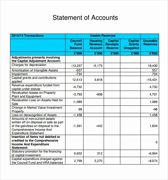 Statement Of Account Template Elegant Sample Statement Of Account 10 Documents In Pdf