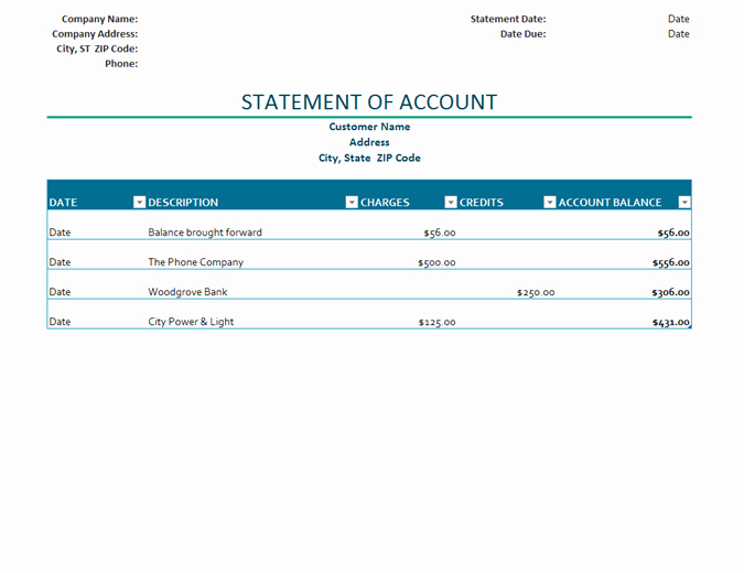 Statement Of Account Template Fresh Billing Statement Of Account